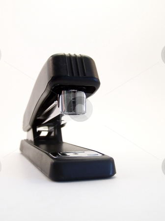 Black Stapler, Vertical shot stock photo, Image of a black stapler on white background.  Vertical orientation. by Jill Oliver