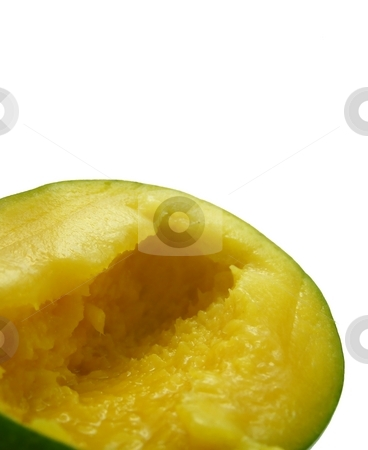Sliced Mango 1 stock photo, Image of a mango half, isolated on a white background. by Jill Oliver