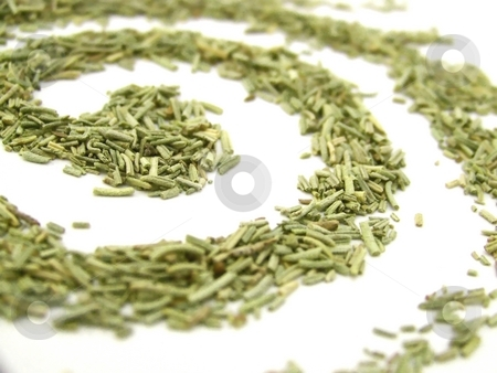Dried Rosemary Swirl, Horizontal stock photo, Detailed image of dried rosemary forming a spiral on white.  Horizontal orientation. by Jill Oliver