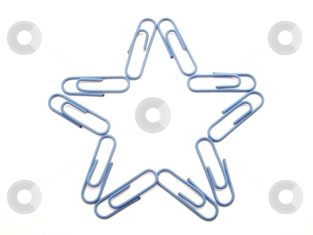 Paperclip Star stock photo, Image of a star shape made from bright blue paperclips.  Horizontal orientation. by Jill Oliver
