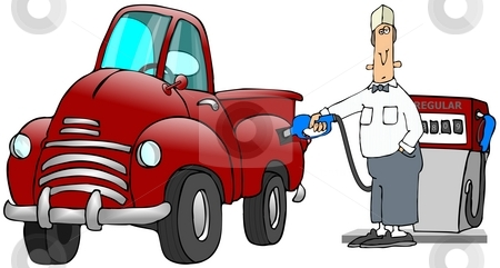Gas Station Attendant stock photo, This illustration depicts a gas station attendant putting gas into an old red truck. by Dennis Cox