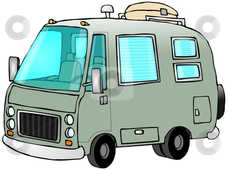 Green Motorhome stock photo, This illustration depicts a green motor home. by Dennis Cox