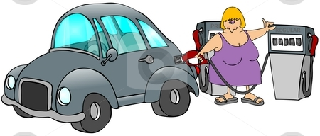 Gasoline Pumps stock photo, This illustration depicts a woman filling her car with gasoline from a pump. by Dennis Cox