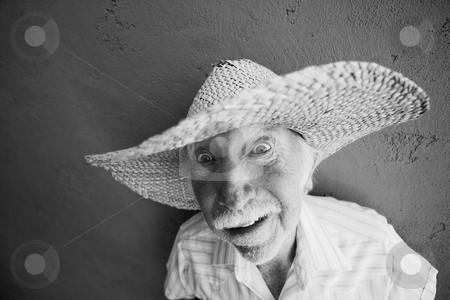 Man in a big straw hat stock photo, Crazy old man in a big straw hat by Scott Griessel