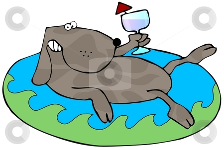 Relaxing Dog stock photo, This illustration depicts a dog laying in an inflatable pool toy and holding a drink. by Dennis Cox