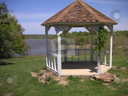 Gazebo overlooking Lake stock photo, A gazebo overlooking a lake in Oklahoma. by Caley Gonyea
