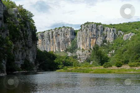 Cliffs and water in Chassezac, Ardeche Valley, Southern France stock photo, Im Tal des Chassezac (Ardeche) S?dfrankreich by Wolfgang Heidasch