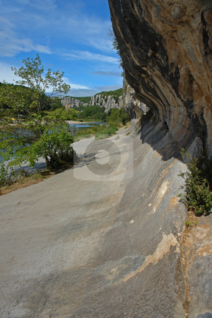 Cliffs in Chassezac, Ardeche Valley, Southern France stock photo, Im Tal des Chassezac (Ardeche) S?dfrankreich by Wolfgang Heidasch
