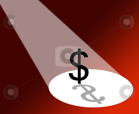 Dollar under spotlight stock photo, Spotlight shing on dollar sign on red background. by Ronald Hudson