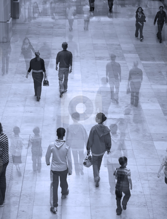 Busy shopping mall stock photo, Suureal image of people in shopping mall. Overlaid with faded image for effect. by Ronald Hudson