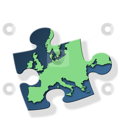 Green Europe stock photo, Jigsaw piece with green Europe outline on white background with drop shadow effect. by Ronald Hudson