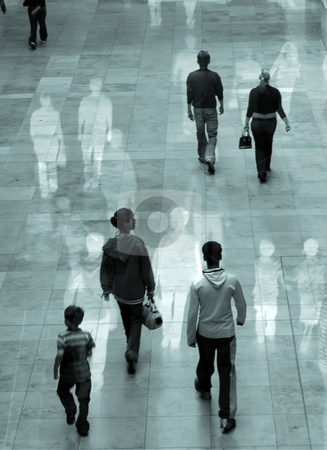 Shopping experience stock photo, Surreal image of people in shopping mall. Some movement blur with overlaid images. by Ronald Hudson