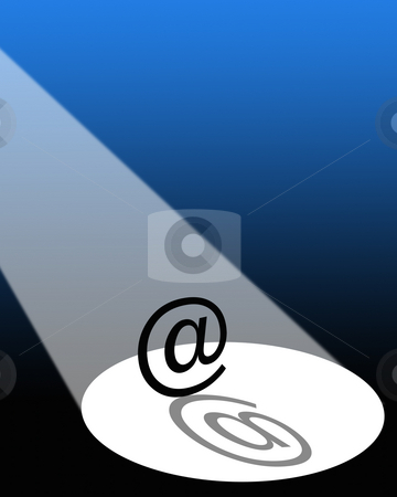 E-mail in the spotlight stock photo, Graphical illustration of e-mail sign under a spotlight. by Ronald Hudson