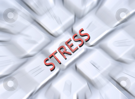 Stress keyboard stock photo, Illustration of the word stress overlaid onto blurred computer keyboard by Ronald Hudson
