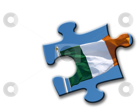 Irish flag jigsaw stock photo, Irish flag overlaid onto jigsaw piece shape on white. by Ronald Hudson
