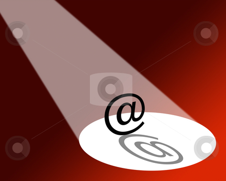 Spotlight on digital communications stock photo, Illustration showing e-mail symbol under a spotlight on red background. by Ronald Hudson