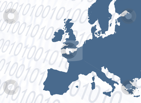 Online Europe stock photo, Outline map of Europe overlaid with numbers by Ronald Hudson