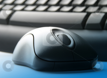 Keyboard and mouse stock photo, Computer keyboard and mouse with blue overlay, Focussed on mouse wheel by Ronald Hudson