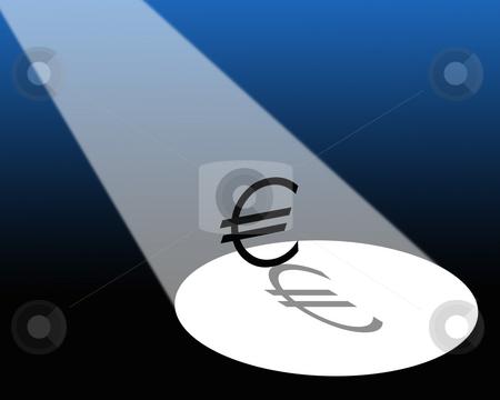 Euro in spotlight stock photo, Illustration showing spotlight falling on Euro symbol. by Ronald Hudson