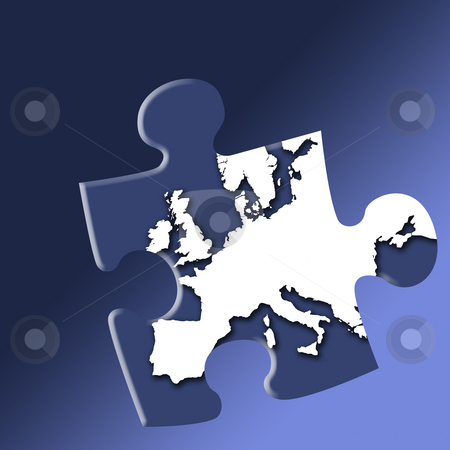 European puzzle stock photo, Jigsaw piece of European map outline on graduated blue background. by Ronald Hudson