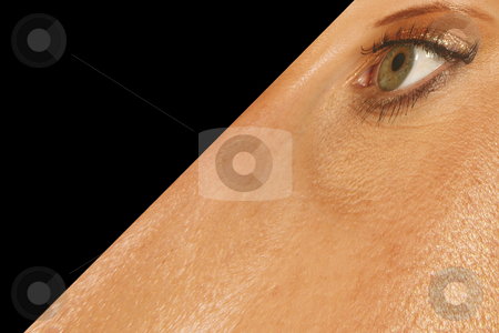 Surreal face stock photo, Surreal illustration of distorted woman's face on black by Ronald Hudson