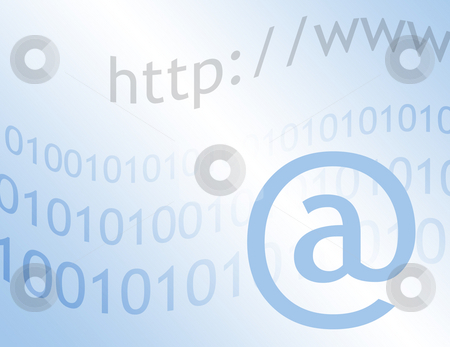Internet communications stock photo, Illustartion representing e-mail communications. Text overlaid onto graduated blue background. by Ronald Hudson