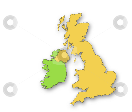 United Kingdom and Eire stock photo, Outline map of the United Kingdom and Eire. Drop shadow on white background. by Ronald Hudson