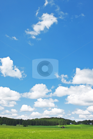 Landscape and clouds stock photo, A photography of a bright sky with clouds by Markus Gann
