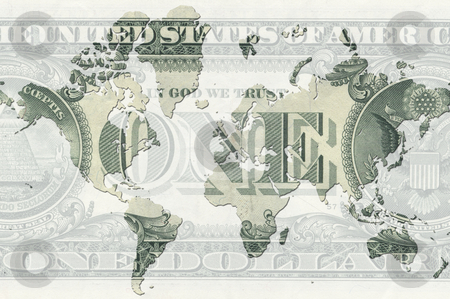 World money stock photo, A illustration of a map with a dollar note by Markus Gann