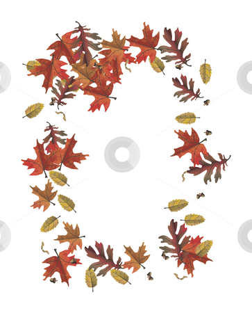 Autumn leaf frame stock photo, A illustration of a colorful frame of autumn leaf by Markus Gann