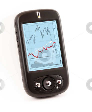 Smart phone with financial chart stock photo, A photography of a smart phone ppc with financial chart by Markus Gann