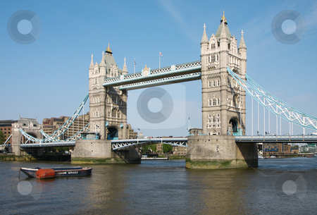 Tower bridge in London stock photo, A photography of the attraction Tower bridge in London by Markus Gann