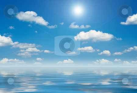 Blue sky with white clouds stock photo, A photography of a blue sky with white clouds by Markus Gann