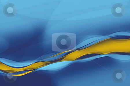 Abstract wave stock photo, An illustration of an blue orange abstract wave by Markus Gann