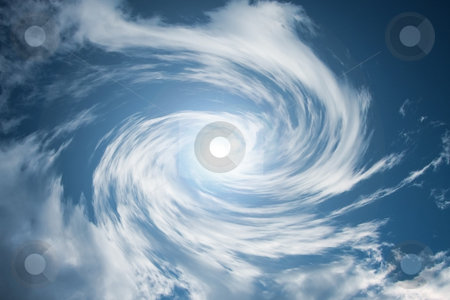 Moving cloud swirl stock photo, A photography of a bright sky with moving cloud swirl by Markus Gann