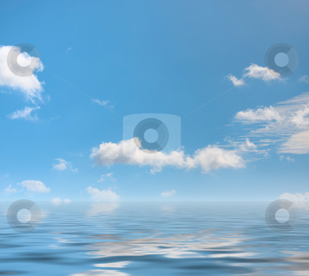 White cloud stock photo, A photography of a white cloud reflection on the water by Markus Gann
