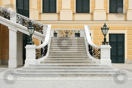 Royal stairway stock photo, A photograph of a wide royal stairway by Markus Gann
