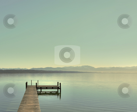 Bright day at the lake stock photo, A Photograph of a blue lake at a bright day. by Markus Gann