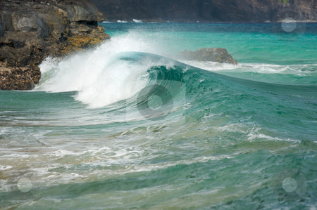 Crashing Wave on the Napali Coast stock photo, Crashing Wave on the Napali Coast, Kauai by Andy Dean