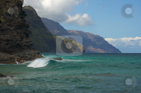 Kauai's Napali Coastline stock photo, Kauai's Breathtaking Napali Coastline with crashing waves. by Andy Dean