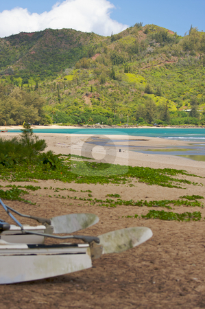 Catamaran Waiting on Beach stock photo, Tranquil Bay Scene in the Early Morningwith Catamaran. by Andy Dean