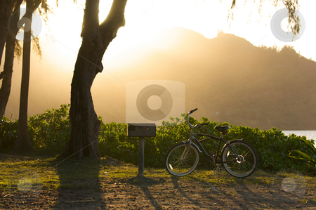 Sunset on Hanalei Bay stock photo, Sunset on Hanalei Bay with Backlit Bike and BBQ. by Andy Dean