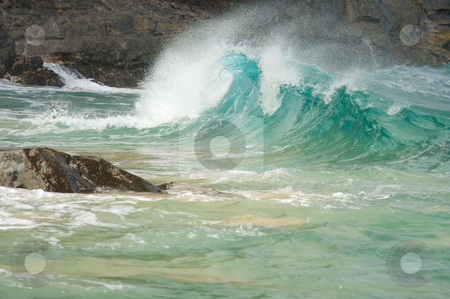 Crashing Waves on the Napali Coast stock photo, Crashing Wave on the Napali Coast, Kauai by Andy Dean