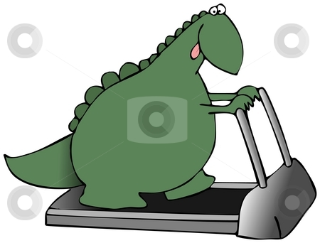 Dinosaur On A Treadmill stock photo, This illustration indicates a green dinosaur walking on a treadmill. by Dennis Cox