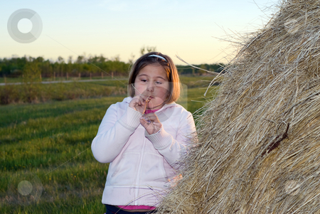 Farm Girl stock photo, A young farm girl standing beside a hay bale during a sunset by Richard Nelson
