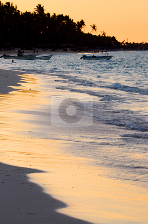 Tropical beach at sunset stock photo, Sandy beach of a tropical resort at sunset by Elena Elisseeva