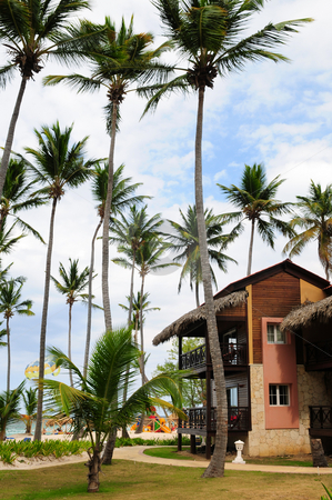 Hotel at tropical resort stock photo, Luxury hotel at tropical resort on ocean shore with palm trees by Elena Elisseeva