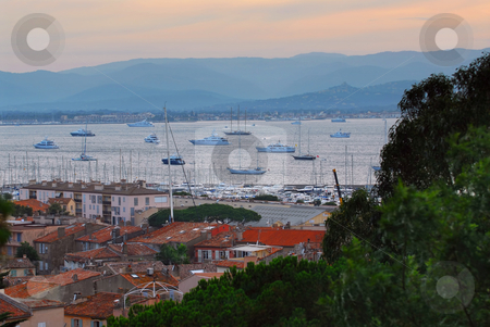 St.Tropez harbor at sunset stock photo, View on St. Tropez harbor in French Riviera at sunset by Elena Elisseeva