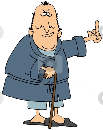 Old Man Flipping The Bird stock photo, This illustration depicts an old man wearing a robe and flipping the bird. by Dennis Cox