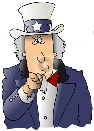Uncle Sam stock photo, This illustration is a comical rendition of the famous Uncle Sam recruitment drawing. by Dennis Cox